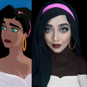Queen of Luna's Esmeralda makeup and hijab art